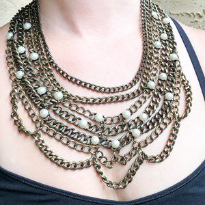 BaubleBar Gold & Pearl 7 Chain Necklace